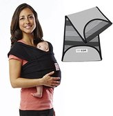 Baby K'tan Baby Ktan Original Cotton Baby Carrier in Basic Black + Nifty Grey K'tanCloth, Extra Small