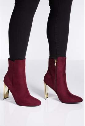 Quiz Burgundy Faux Suede Gold Skinny Heel Ankle Boots