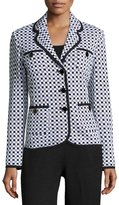 St. John Checkered-Print Knit Blazer, Black/White