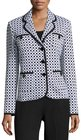st john checkeredprint knit blazer blackwhite