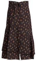 Sea Margaux floral-print ruffled cotton midi skirt
