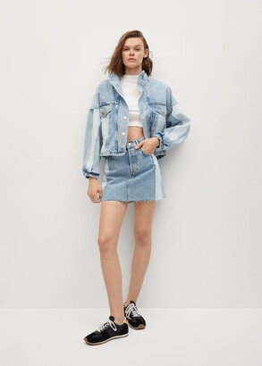 MANGO Contrast denim miniskirt
