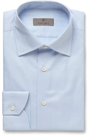 Canali Blue Slim-Fit Cotton-Twill Shirt - Blue
