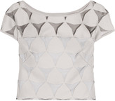 Milly Cropped devoré cotton-blend top