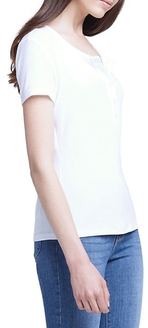 Thumbnail for your product : L'Agence Violet Short-Sleeve Henley T-Shirt