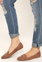 Qupid Walk the Walk Taupe Suede Loafer Flats