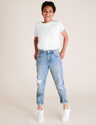 Marks and Spencer Mom Fit Light Denim Ripped Jeans (6-14 Yrs)