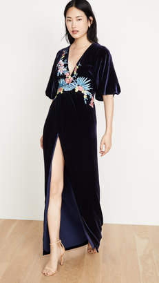 Costarellos Silk Velvet Plunge Wrap Front Dress