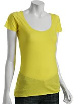 canary raw edge scoop neck t-shirt