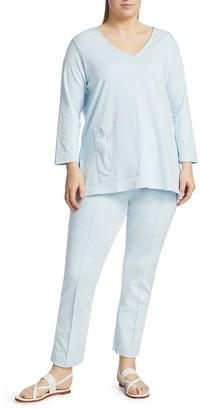 Joan Vass, Plus Size V-Neck Zip Pocket Tunic