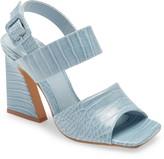 Topshop Natasha Crocodile Embossed Flare Heel Sandal