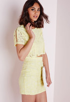 Missguided Lace & Ladder Detail Mini Skirt Yellow