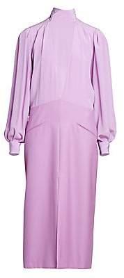 Givenchy Women's V-Neck Silk Midi Dress