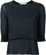 Le Ciel Bleu ribbed detail top - women - Cotton/Nylon/Polyester - 36