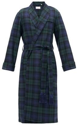 Derek Rose Black Watch Tartan Wool Dressing Gown - Mens - Green