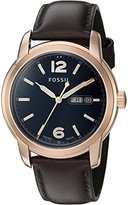Fossil FSW4003 Swiss Made Day/Date Leather Watch - Brown