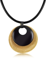 Stefano Patriarchi Etched Golden Silver and Onyx Round Pendant w/Leather Lace