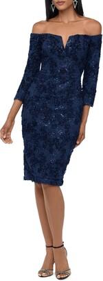 Xscape Evenings Sequin Lace Off the Shoulder Cocktail Dress