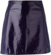 Nina Ricci mini A-line skirt - women - Silk/Lamb Skin - 36