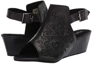 Roper Rowan (Black Floral Hand Tooled Leather) Women's Shoes