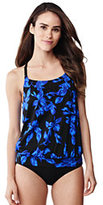 Classic Women's Long Beach Living Blouson Tankini Top-Black Tossed Blossoms