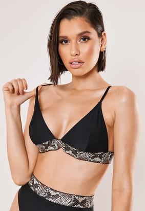 Missguided Black Snake Detail Triangle Bikini Top