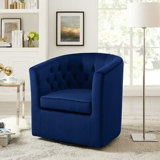 Mercer41 Haglund Swivel Barrel Chair Fabric: Dark Blue