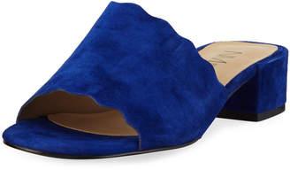 Neiman Marcus Howie Low-Heel Suede Slide Sandals, Blue