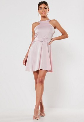 Missguided Satin High Neck Belted Skater Dress