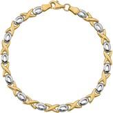 Italian Gold Two-Tone X & O Bracelet 14K, 3.3g