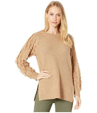 1 STATE 1.STATE Crew Neck Fringe Sleeve Tunic Sweater