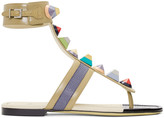 Fendi Taupe Rainbow Thong Sandals