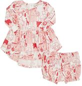 Lucky Jade SAFARI-PRINT COTTON-BLEND DRESS & BLOOMERS SET