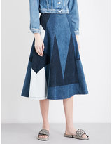 Denim Midi Skirt - ShopStyle UK