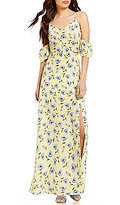 Blu Pepper Floral-Printed Cold-Shoulder Maxi Dress