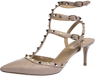 Valentino Beige Leather Rockstud Strappy Pointed Toe Sandals Size 41