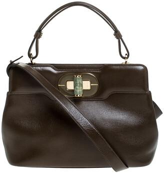 Bvlgari Olive Green Leather Isabella Rossellini Top Handle Bag