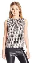 Calvin Klein Women's Petite-Size Matte Jersey Pleat Neck Cami in Grid Print