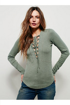 Free People Womens LUCKY LACE UP TOP