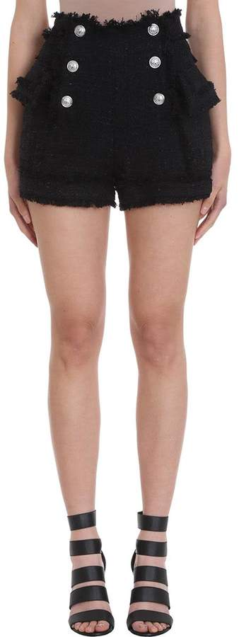 Balmain Black Tweed Shorts