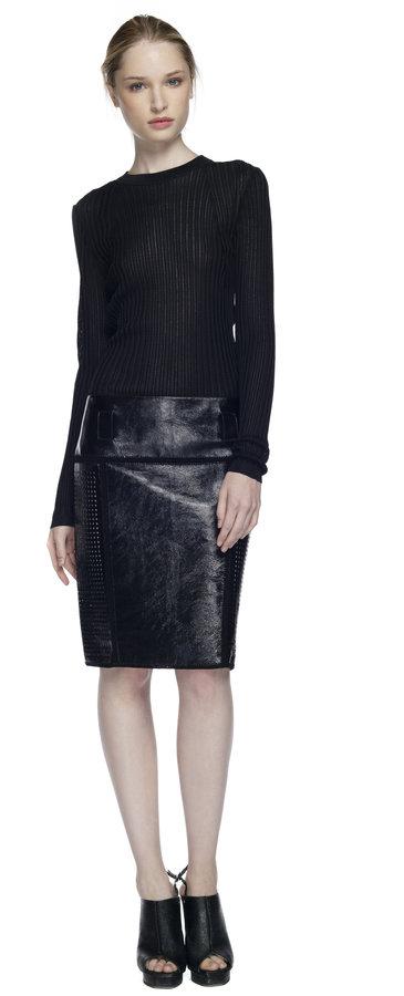 Proenza Schouler Black Crochet Straight Skirt