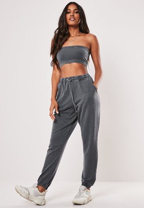 Missguided Petite Grey Washed Oversized 90S Joggers