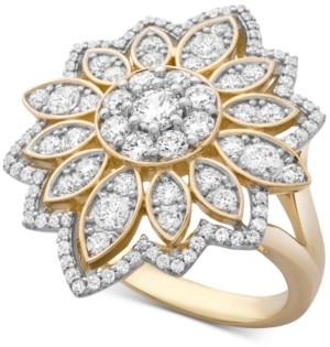 Wrapped in Love Diamond Flower Cluster Ring (1-1/2 ct. t.w.) Ring in 14k Gold, Created for Macy's