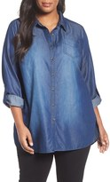 Sejour Plus Size Women's Chambray Tunic Shirt