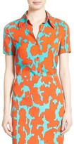 Diane von Furstenberg Women's Print Stretch Silk Shirt