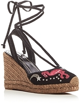 Marc Jacobs Nathalie Applique Embellished Espadrille Wedge Sandals