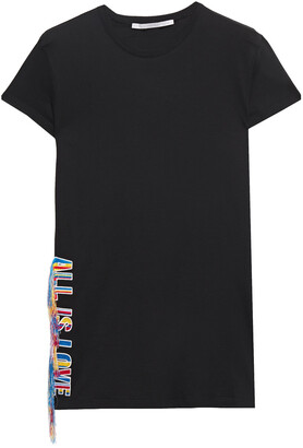 Stella McCartney Frayed Embroidered Cotton-jersey T-shirt