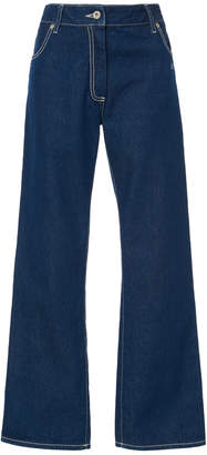 Off-White Mid-Rise Flared Wide-Leg Jeans