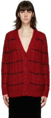 Saint Laurent Red Mohair Cable Knit Cardigan