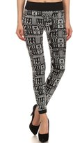 Simplicity Women's Print Seamless Fleece Lined Leggings w/Mix Tribal Flocking